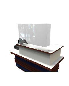 Klar skærm for beskyttelse og afskærmning på butiksdisk og bordplade - Køb online her
