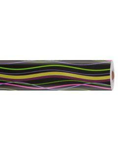 Sort gavepapir med stribet mønster i flere farver - 70 cm i bredde