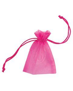 Stor smykkepose af stof i fuchsia farve med snørelukning