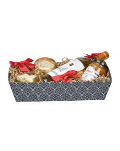 Sort gavekurv med hvid mønster i flot design - Køb gavekurve online her