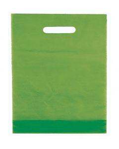 Poser med håndtag i flot æblegrøn farve - I plast med 100 stk.