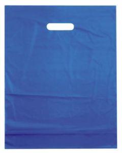 Azurblå bærepose i kraftig kvalitet på 50 micron - Pakket med 100 stk.