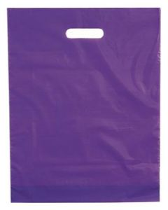 Flot lilla farvet plastikpose med bære håndtag - I god kvalitet