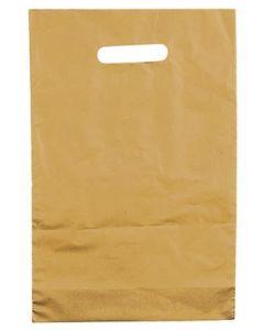 Flot plastikpose i guld - Pakket med 100 stk. til lavpris