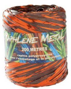 Lækkert gavebånd i bast materiale - I chokolade / orange farve