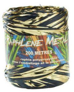 Flot guld og sort gavebånd - Rulle med 200 meter