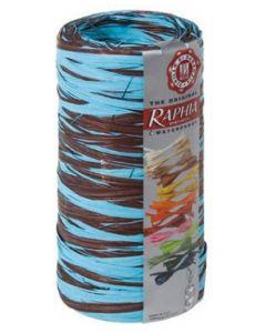 Flot gavebånd i chokolade / turkis blå farve - I bast med 200 meter