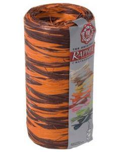 Chokolade / orange bast indpakningsbånd - Rulle med 200 m