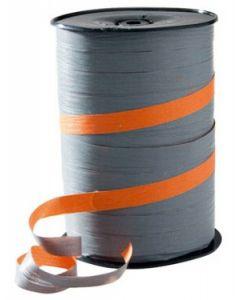Super flot orange / grå farvet gavebånd på rulle med 250 m