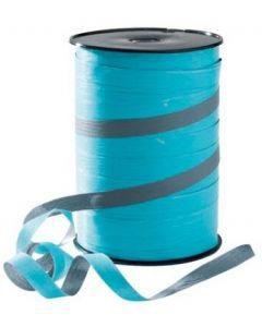 Turkis farvet gavebånd med grå stribe - Rigtig flot med 10 mm i bredde