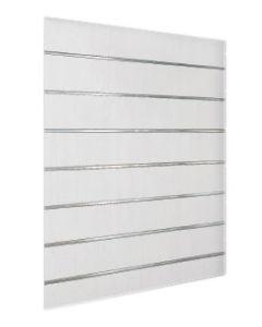 120 X 120 Slatwall plade - Flot MDF plade i hvid med 15 cm liste afstand