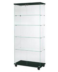 Glasvitrine med sort bund/top plade, i hærdet glas med hjul og lås - Kvalitetsvarer