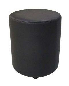 Flot puf-skammel i ægte sort læder - Køb online her