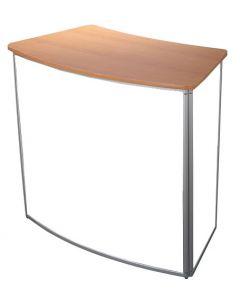 Messedisk med hvide plade og træ bordplade - Køb her med hurtig levering