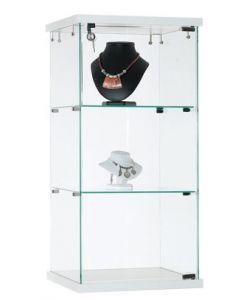 Glasvitrine med lås, fremstillet af hærdet glas og velegnet til gulv eller bord