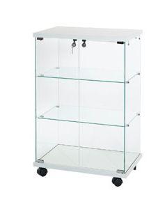 Glasvitrine med hvid bund og top i 25 mm træ - Hærdet glas på vitrine og hylder