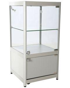 Glasmontre til udstilling af høj kvalitet - Med lås, hjul og LED-lys spot belysning