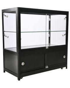 Glasvitrine af høj kvalitet med sorte aluprofiler - Hærdet glas