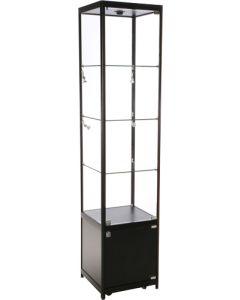 Præsentabel glasmontre med led lys, hjul, stillesko samt lås