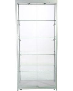 Glas vitrine af høj kvalitet i flot design - 6 led spot og skydelåge med lås