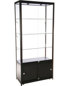 Solidt fremstillet glas vitrine - Sorte aluprofiler og hærdet glas
