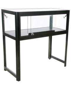 Glas disk / showcase - I sorte med hærdet glas og 4 led lys spot