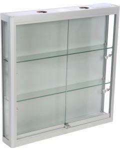 Glasvitrine til vægophæng - Med 6 led lys sport og skydelåger med lås