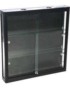 Vægvitrine i sort med hærdet glas - Monteret med 6 led lys spot