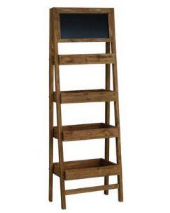Flot træreol med 4 hylder og tavle på toppen - Køb online til gode priser