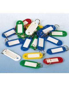 Nøgleringe med gennemsigtig vindue og hvid label - Pakket med 100 stk.