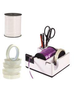 Komplet Box-tilbud1, indholder borddispenser, tape og gavebånd