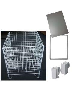 Hvid vare-kurv af trådmetal med A4 skilteholder - Kan bruges som gadekurv eller i butikkem