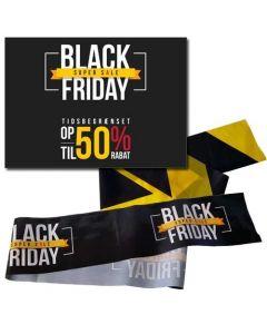 Black-Friday 50% rabat plakat samt 2 ruller afspærringsbånd
