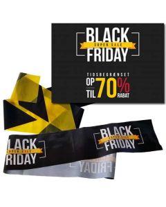 Komplet skiltepakke til Black-Friday - Black-Friday trykt på plakat og bånd