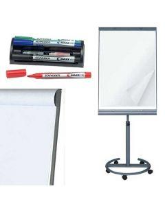 Whiteboard stativ med hjul, flipover papir, tuscher - Komplet pakke til billig pris