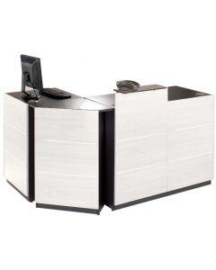 Hvid butiksdisk - Komplet med moduler og hvid dekorations plader