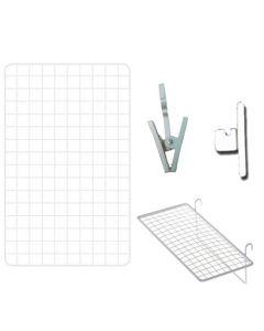 Gitter opslagstavle - Med klemmer og hylde i hvid - Køb her