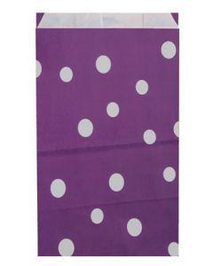 Poser til indpakning af gaver - I flot aubergine farve med hvid prikker