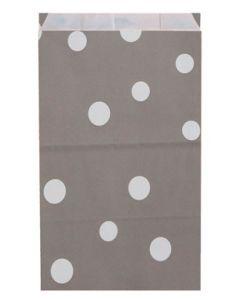 250 stk. gaveposer hvide prikker som motiv på grå pose - TIl billig pris