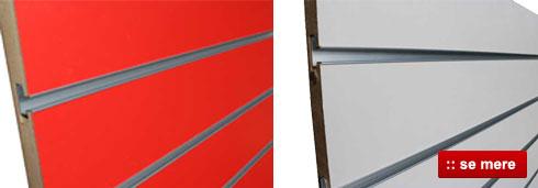 Rillepanel rød og grå farve - Køb Slatwall her