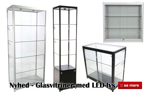 Køb glasvitriner med led-lys og flot høj kvalitet!
