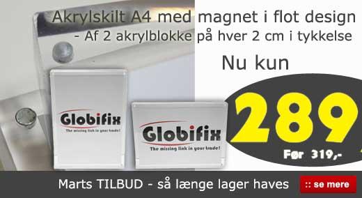 Marts tilbud - Akrylskilt med magnet a4 til billig pris