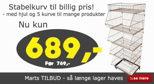 Marts tilbud - Stabelkurve og kurvestativer til billig pris