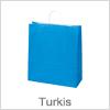 Køb turkis farvet papirsposer med hank