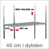 Reol system i metal - byg selv hvor dybden er 46 cm