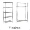 Metal reol system i flot krom - Flexireol