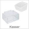 Kasser til opbevaring og vare præsentation - Slatwall / Rillepanel